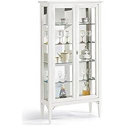 Vitrina, estilo clasico, en madera maciza y mdf con acabado blanco mate - Medidas 89 x 34 x 170