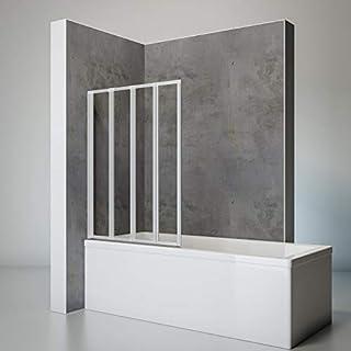 Schulte D1334 01 50 Smart Duschabtrennung für Badewanne alunatur, 4-teilig