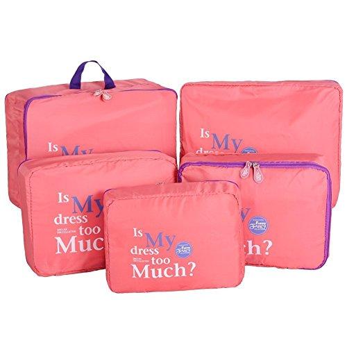 5 Teilige Koffertaschen-Set Storage Case Nylon Aufbewahrungsbox Urlaub Reisen Taschen Organizer Bag Reise Kleidertaschen Tasche Flugbegleiterin (Rose rot) Rose rot