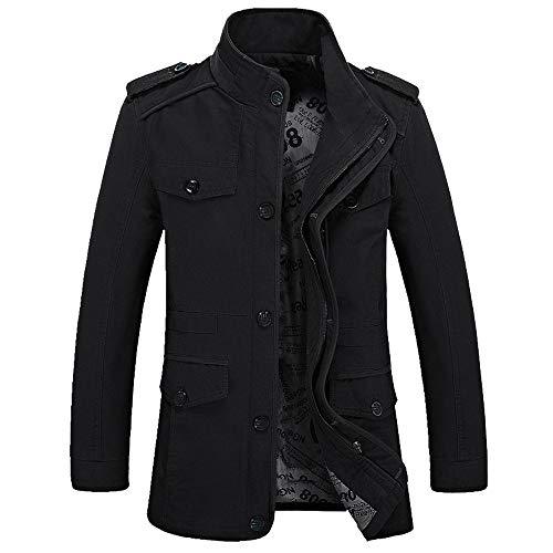 Hanomes Herren Jacke,Herren Winter Warme Mode Einfarbig Mantel Casual Pilotenjacke Lose Sweatshirt 2 in 1 Reißverschluss Knopf Funktionsjacke -