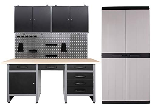 Ondis24 Werkstatteinrichtung 260 x 60 x 205 (H) cm, Arbeitshöhe 85 cm, mit MEGA XL Schrank, bestehend aus Werkbank, 2 x Werkzeugschrank, Euro-Lochwand mit 22 Haken, Metall, Justierfüße, abschließbar