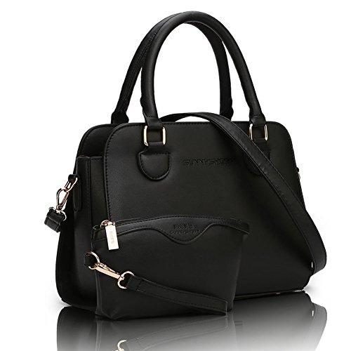 fanhappygo Damen Handtasche Schultertasche Tasche Large Umhängetasche Entwerfer Shopper Henkeltasche set Schwarz