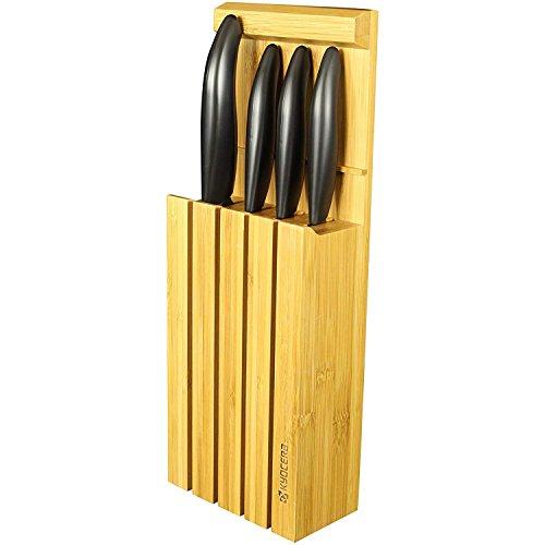 Kyocera 4WHBK Bloc de 4 Couteaux d'Office/universel/Santoku Céramique Blanc/Noir