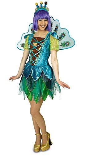 Kostüme Erwachsene Damen Pfau (Pfau Kostüm für Damen mit Flügeln Gr. 36 38 - Tolle Tier Vogel Schmetterling Verkleidung für)