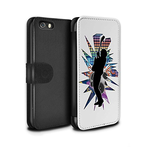 Stuff4 Coque/Etui/Housse Cuir PU Case/Cover pour Apple iPhone SE / Hendrix Noir Design / Rock Star Pose Collection Hendrix Blanc