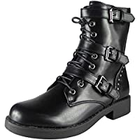 Womens Ladies Buckle Combat Lace Up Zip Army Work Biker Ankle Boots Shoes Size 3-8