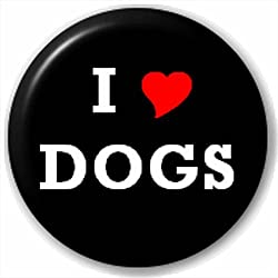 (D Pin) 25mm Lapel Pin Button Badge: I HEART LOVE DOGS PETS by Button Badges