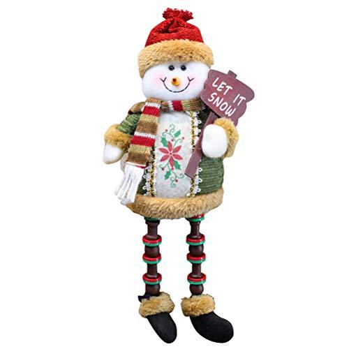 Bestoyard decorazioni pupazzo di neve per albero di natale di bambola per decorazioni tavolo natalizie 32x13cm