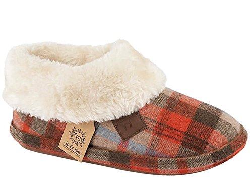 Ladies Jo & Joe Faux Suede Sheepskin Fur Collar Fleece Lined Bootee Slippers Size 3-8 (UK 5, Brown Tartan)