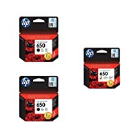 ‏‪HP CZ101AK 650 Black Ink Cartridges, 2 Pieces and HP CZ102AK 650 Tri Color Ink Cartridge‬‏