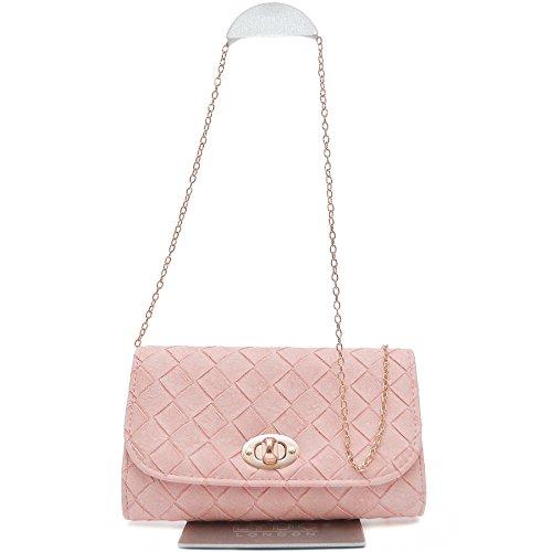 Vain Secrets Damen Umhänge Tasche Clutch Strass oder Saffiano Abendtaschen Lachs geflochten
