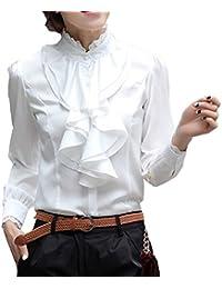 Volant Rüschen Chiffon Bluse Büro Business Fest Party Hemd Top*S M L XL-36 38 40