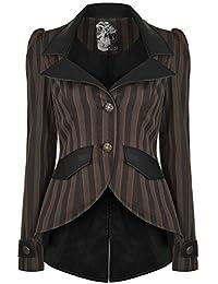 6a390fe1dda6 Punk Rave Damen Steampunk Jacke braun schwarze Streifen Frack Gothik  VIKTORIANISCH