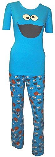 Sesamstraße - Pijama con diseño de Cara de El Monstruo de Las Galletas - L