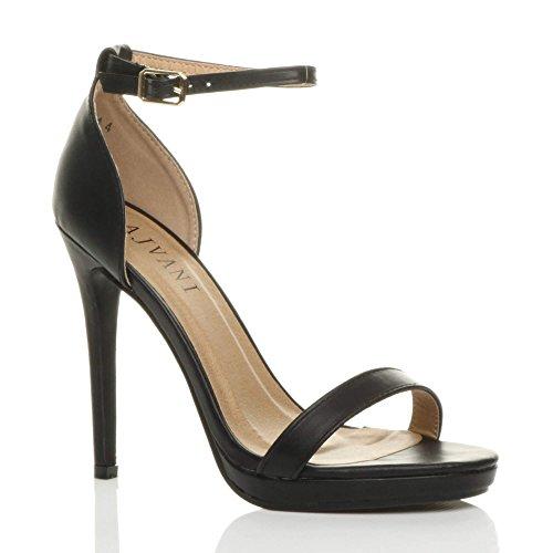 Donna tacco alto spillo plateau fibbia con cinturino scarpe sandali numero Nero Opacoa