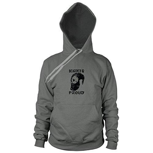 Bearded and Proud - Herren Hooded Sweater, Größe: L, Farbe: grau
