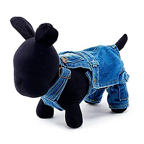 LUCKSTAR Pet Overall Jeans, Hot Sale Winter Herbst Hund Jeans Strampelanzug Jeans Hose mit Gurt Jumpsuit Kleidung Apparel für Bichon Pudel, X-Small (Back Length:24cm; Bust:37cm) Ribbon Jeans Hose