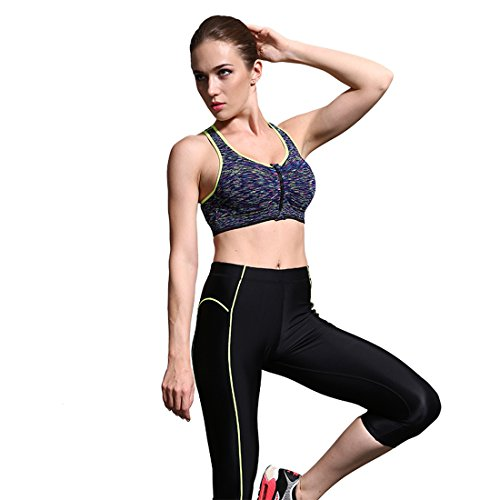 Vertvie Femme Soutien-gorge de Sport Bra Brassière Push Up Zip Devant Antichoc Lingerie pour Fitness Yoga Jaune