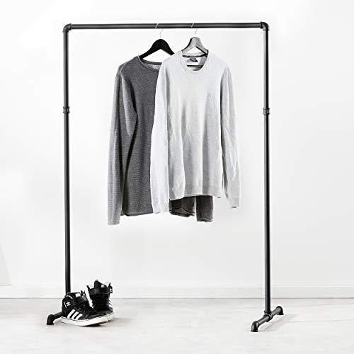pamo. Kleiderständer im Vintage Industrial Design – Gaderobenständer schwarz Metall aus Wasserrohre (Lil LAS Low (125cm x 94 cm))