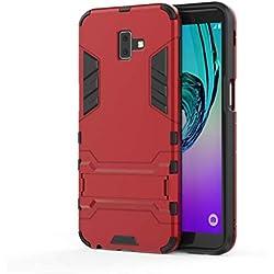 AOBOK Coque Samsung Galaxy J6 Plus, Rouge Élégant Etui Robuste Hybride Armure Hull Couverture, Anti-Scratch, Parenthèse Pliable Housse pour Samsung Galaxy J6 Plus Smartphone