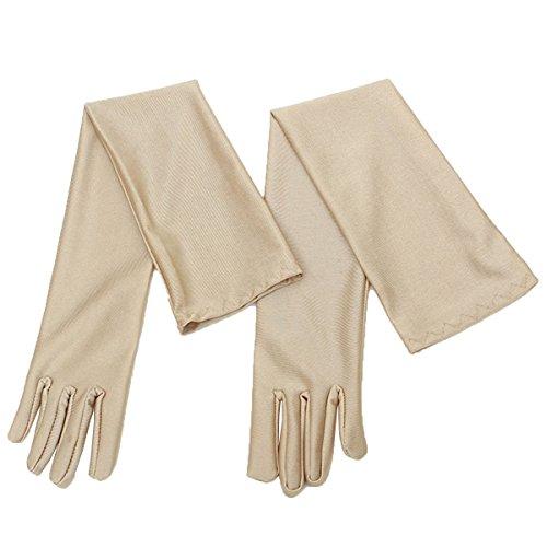LUOEM Pair 55 CM lange Hochzeit Handschuhe, elastische Brauthandschuhe für Hochzeit Party Abschlussball (Helles Braun) (Opera Braut-handschuhe)