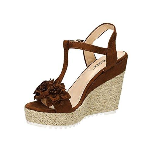 Trendige Damen Riemchen Sandaletten Pumps Keilabsatz Keilpumps High Heels Peep Toes Schuhe Bequem 02 Camel