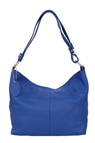 AMBRA Moda Damen Leder Handtasche Schultertasche Umhängetasche Hobo bag GL005 Royalblau