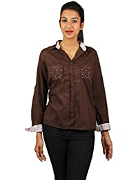 Old Khaki Solid Cotton Casual Partywear Shirt Women's Girls Shirt with Swaroski Stones on The Double Pockets in Brown Color with Contrast & Free Shipping