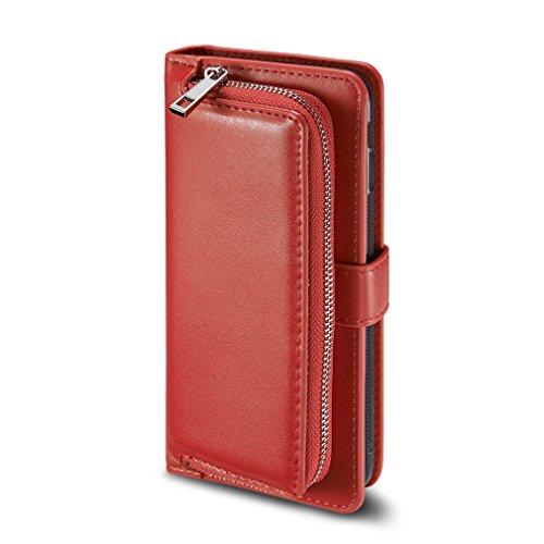 A9H 2 in 1 Samsung Galaxy S8 (5,8 Zoll) Multifunktions Hochwertigen PU Leder Handy Tasche mit Druckknopf Verschluss Schutzhülle Handyhülle hülle und Geldbörse Flip Case Cover mit Kartenfach,Schwarz,Rot