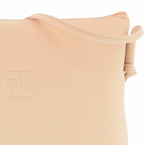 sac à bandoulière en cuir zippée derrière Beige