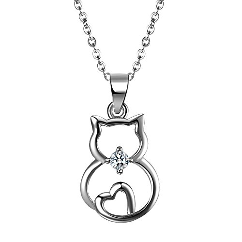 Aroncent collana amore donna argento 925 mosaico zircone pendente gatto gattino