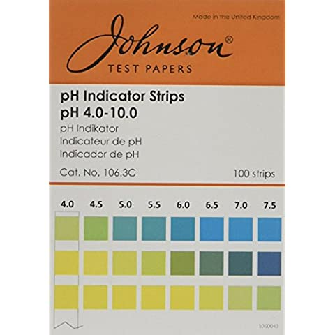 Johnson Test Papers 106,3C indicatore strisce, pH 4. 0-10,0, 100 fogli