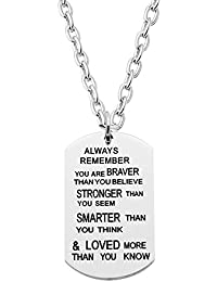 AGR8T - Colgante para nieto, diseño con texto en inglés «Always Remember you are Braver Stronger Smarter than you seem»