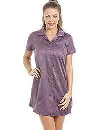 8761142bb41544 Jacquard-Nachthemd aus weichem Satin-Baumwollmischgewebe - Violett