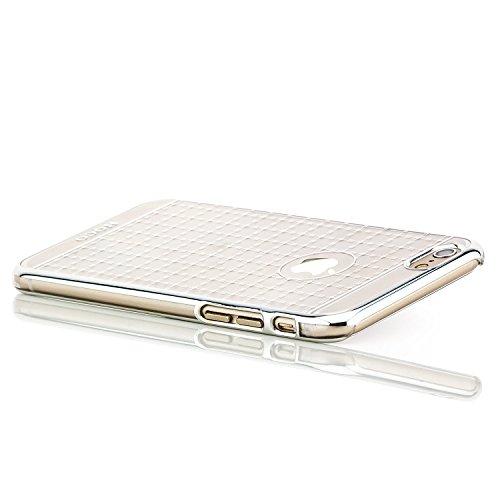 Hoco. Apple iPhone 6 / 6S Hülle Slim Case Cover Hardcase Schutzhülle   Pink Silber Kariert
