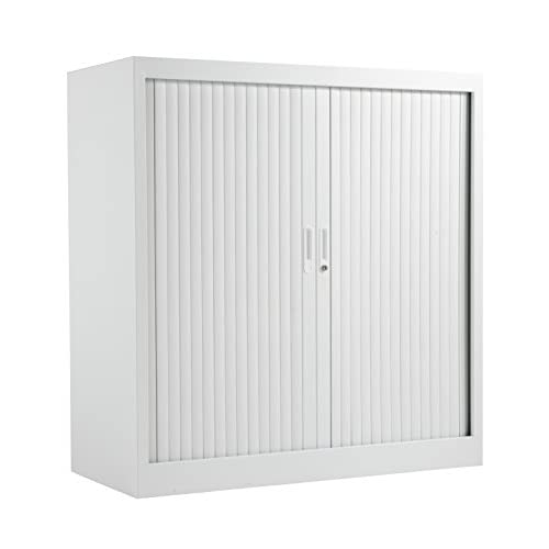 Office Hippo Steel Tambour Cupboard Side Opening with 2 Shelves, Fully Lockable, 105 cm High, White