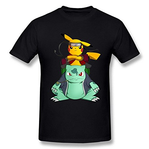 Men's Pikachu Naruto Pikuto Cosplay Black T Shirt Small