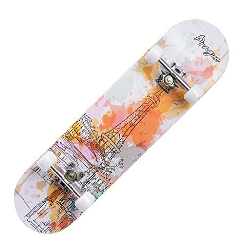 8bayfa Kinder-Skateboard mit Rad, 31 Zoll Doppel-Tritt for Anfänger mit Maple Deck, Maximale Belastung 150 kg Universal (Color : I)