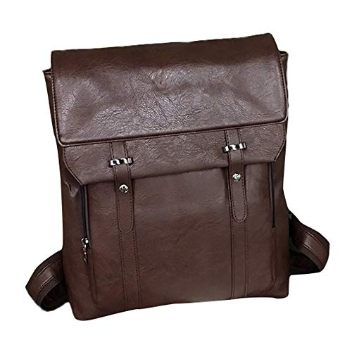 REALIKE Damen Backpack PU-Leder Rucksack Wasserdichte Daypack Kunstleder Reisetaschen Mode Handtasche Anti Diebstahl Ngetasche Einkaufstasche Packtaschen Kleidertaschen (M, Braun)