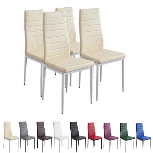 Albatros Milano - Set de 4 sillas de Comedor, Estructura metálica y...