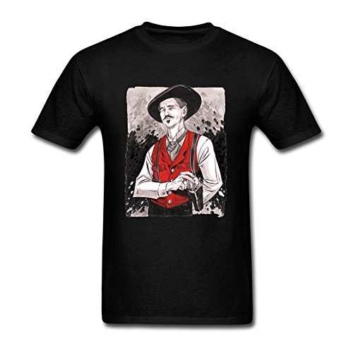 ryc5bd da uomo Doc Holliday T Shirt Black Large