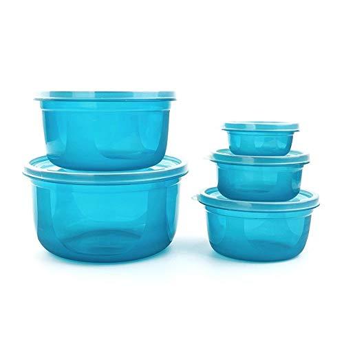 Bei2O brotdose lunch box kühlschrank aufbewahrungsbox kunststoff mikrowelle versiegelt knödel-box obst-box lebensmittel-box 5-teiliges set blaue küche erwachsene kinder büro schule (Mikrowelle Knödel)