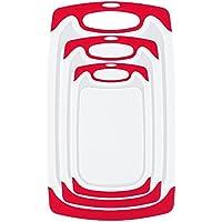 Whitgo - Juego de 3 tablas de cortar de plástico, aptas para lavavajillas, reversibles, con patas antideslizantes y ranura para zumo de goteo profundo, sin BPA (rojo)