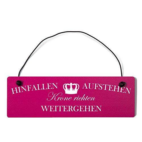 Holz-krone (Deko Shabby Chic Schild Hinfallen Aufstehen Krone richten Vintage Holz Türschild in pink mit Draht)