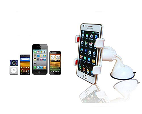 Sirandor Porta Cellulare Auto con Ventosa per Parabrezza per iPhone 6Plus/6/Se/5/4, Samsung Galaxy S6EDGE/S6/s5/S4/S3Note 2/3/4/5, Nexus etc Sony Xperia, ecc. Montaggio Auto Per Tutti Smartphone e  bianco