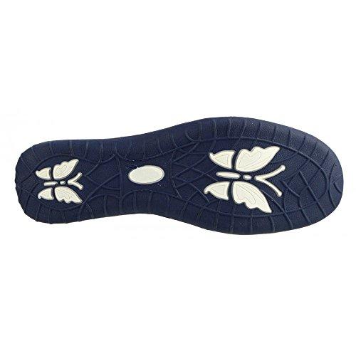 Kick Footwear - Donna Ladies in pelle fissare facile chiusura soft walking touch cinturino scarpe Bianco