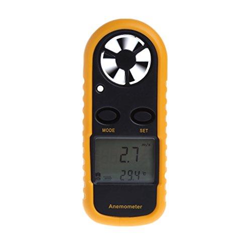 Hergon GM816 Windmesser, Digital LCD Wind Speed Meter Gauge Air Flow Geschwindigkeit Messung Thermometer mit Hintergrundbeleuchtung für Windsurfen Kite Flying Segeln Surfen Angeln Etc