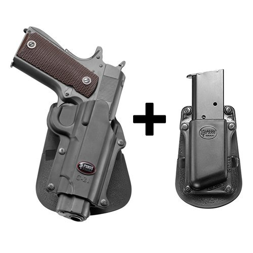 Retention Kit (Fobus kit retention polymer tactical paddle holster + Single Magazine pouch for Colt 45 Government & All 1911 style / FN High power / FN 49 / Kimber 4&5 inch / Sasilmaz Klinic 2000 light / Browning Hi)