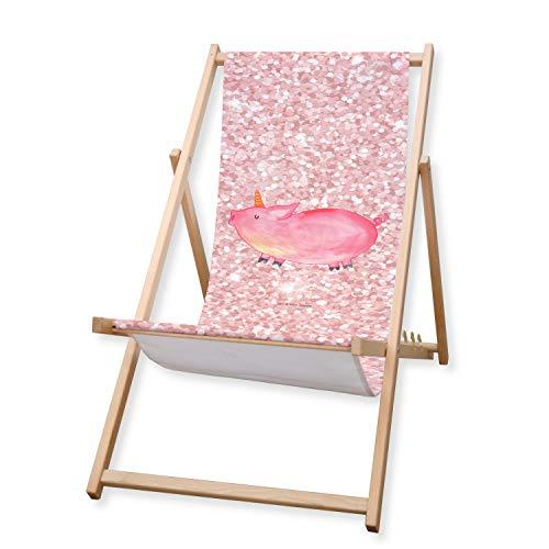 Mr. & Mrs. Panda Liegestuhl, Strandliege, Gartenliege Einhorn Schweinhorn - Farbe Glitzer Rosa