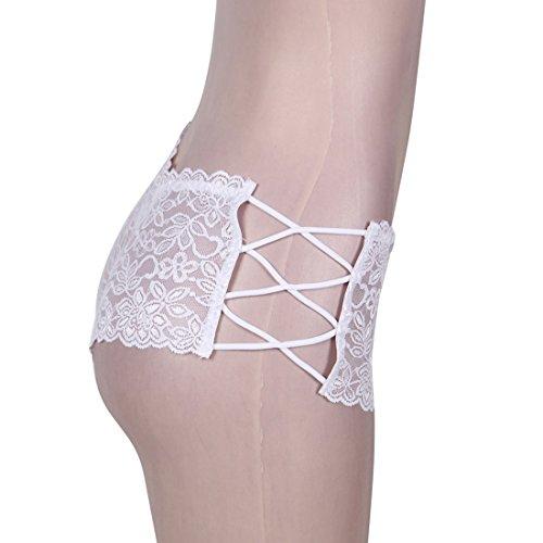 GWELL Damen Sexy Unterhose Spitze Schnur String Tangas Slips Hipster Reizwäsche Dessous Lingerie Panties Weiß